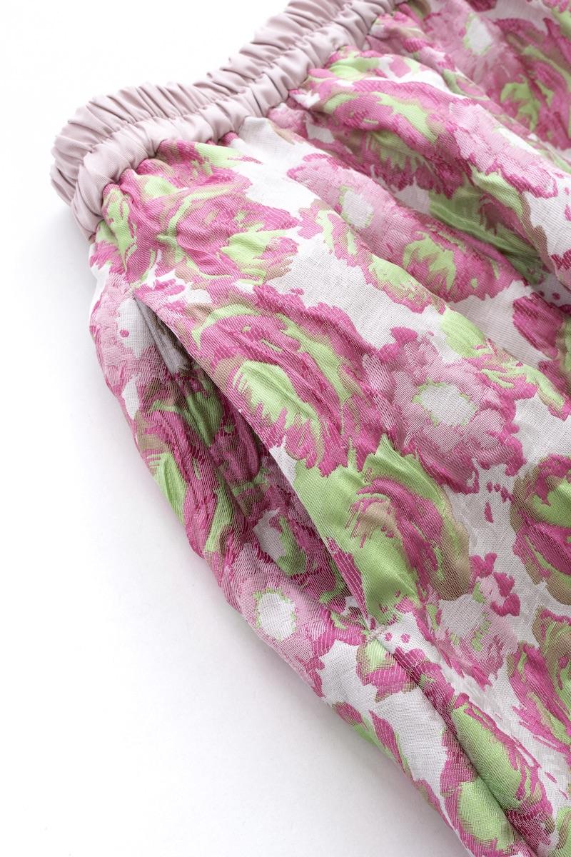 ピンクグリーンジャガードスカート