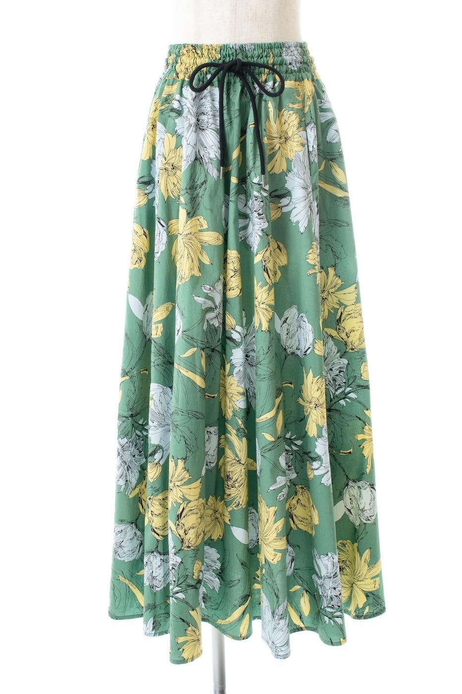 グリーンコットンフラワースカート