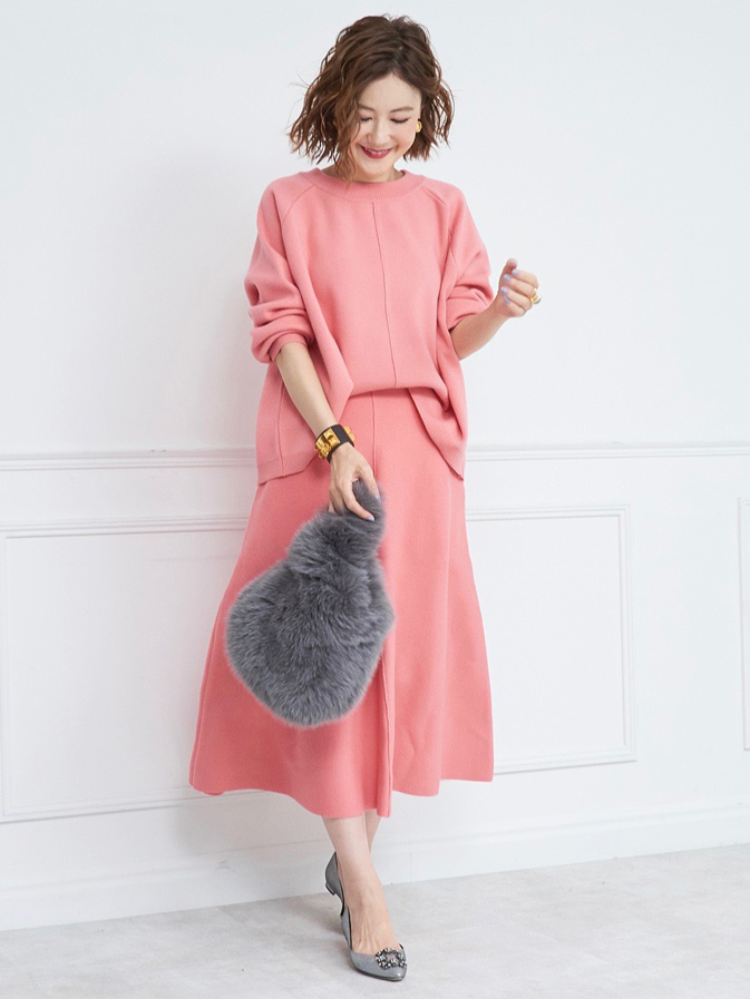 ウールクルーネックニット/ピンク