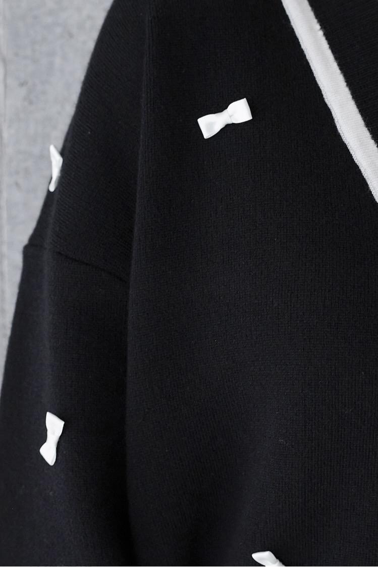 リボンカーディガン/ブラック
