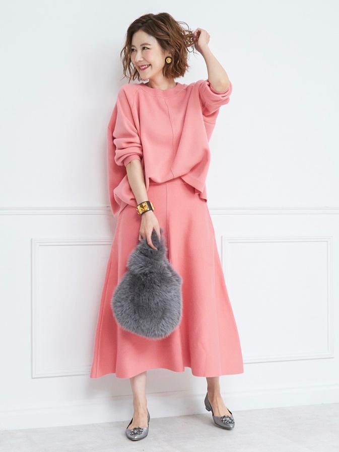 フレアウールスカート/ピンク【残り1点】