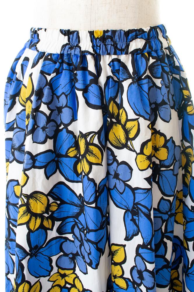 コットンフラワースカート/ブルー