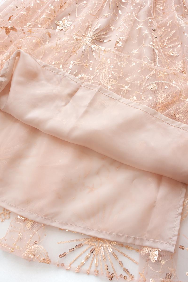 スパンコールチュールスカート/ピンク【残り1点】