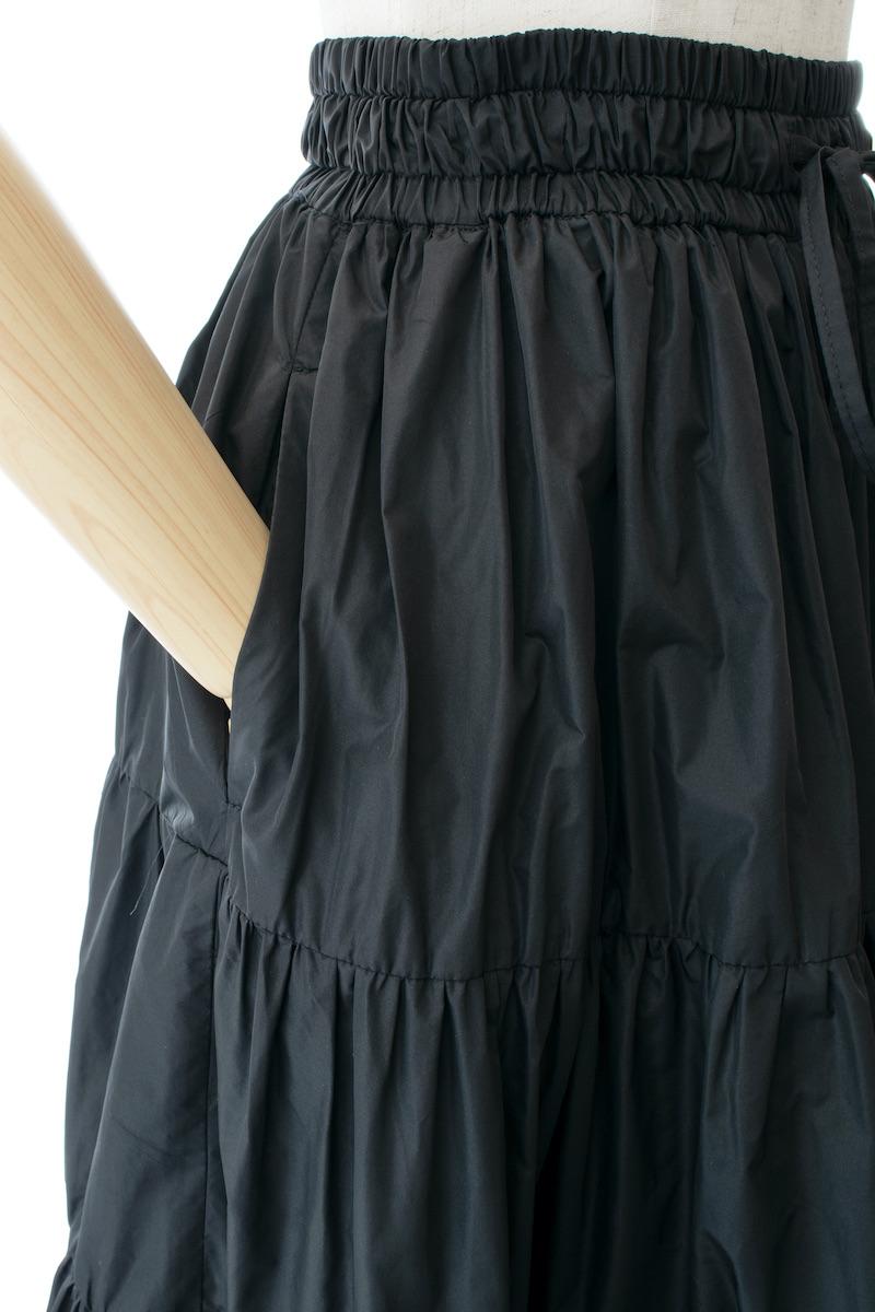 タフタティアードスカート/ブラック