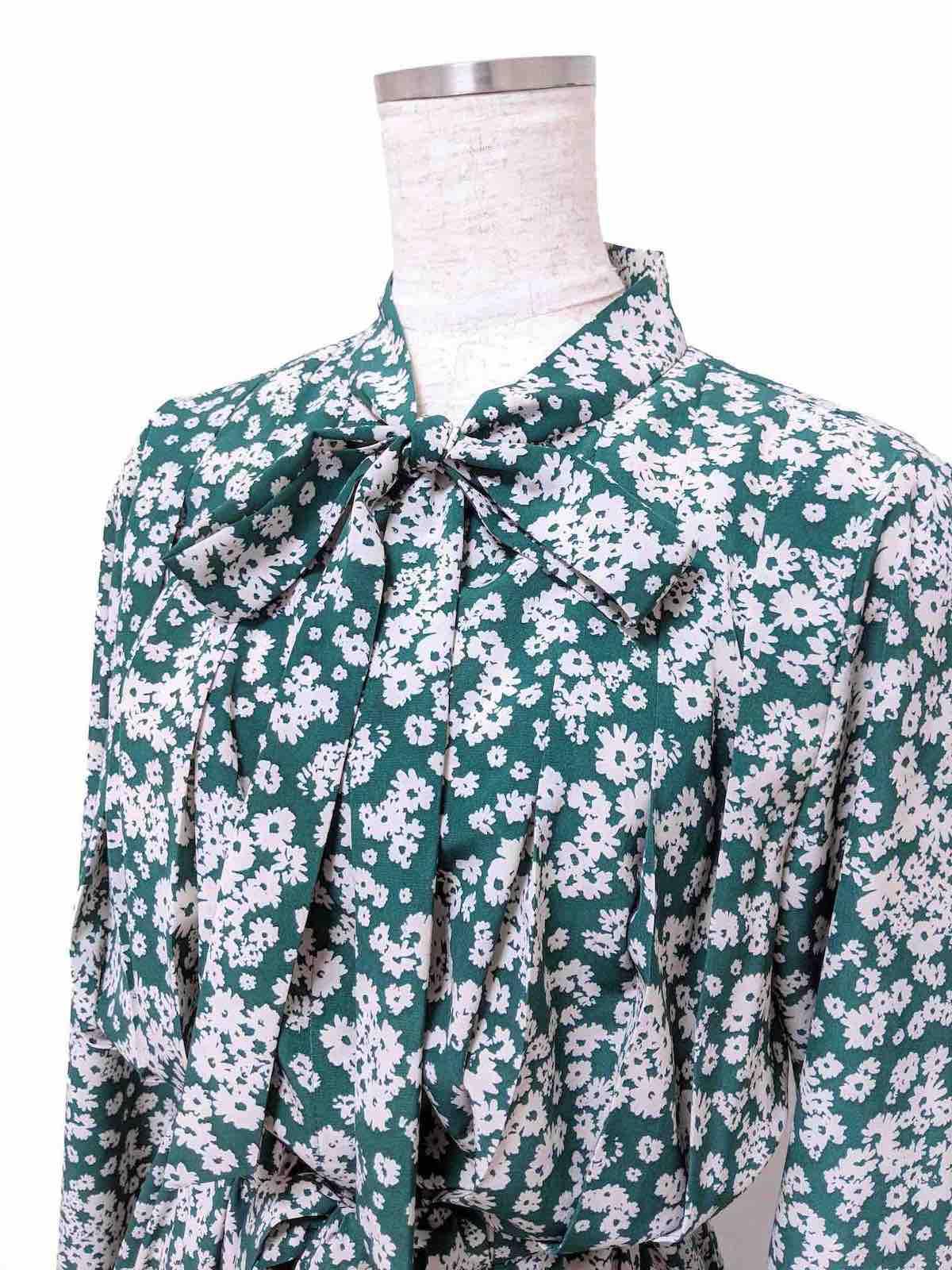 ボウタイシャツワンピース/グリーン