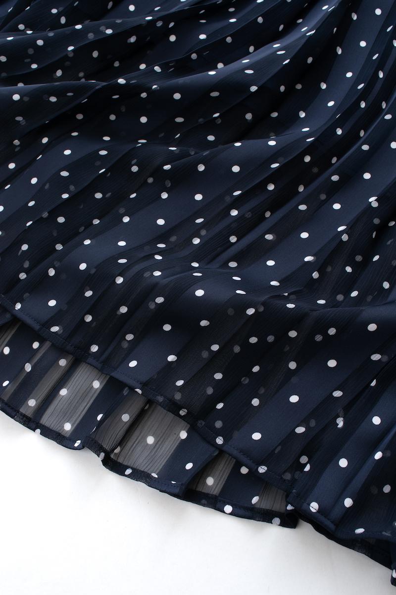 ドットプリーツスカート/ネイビー