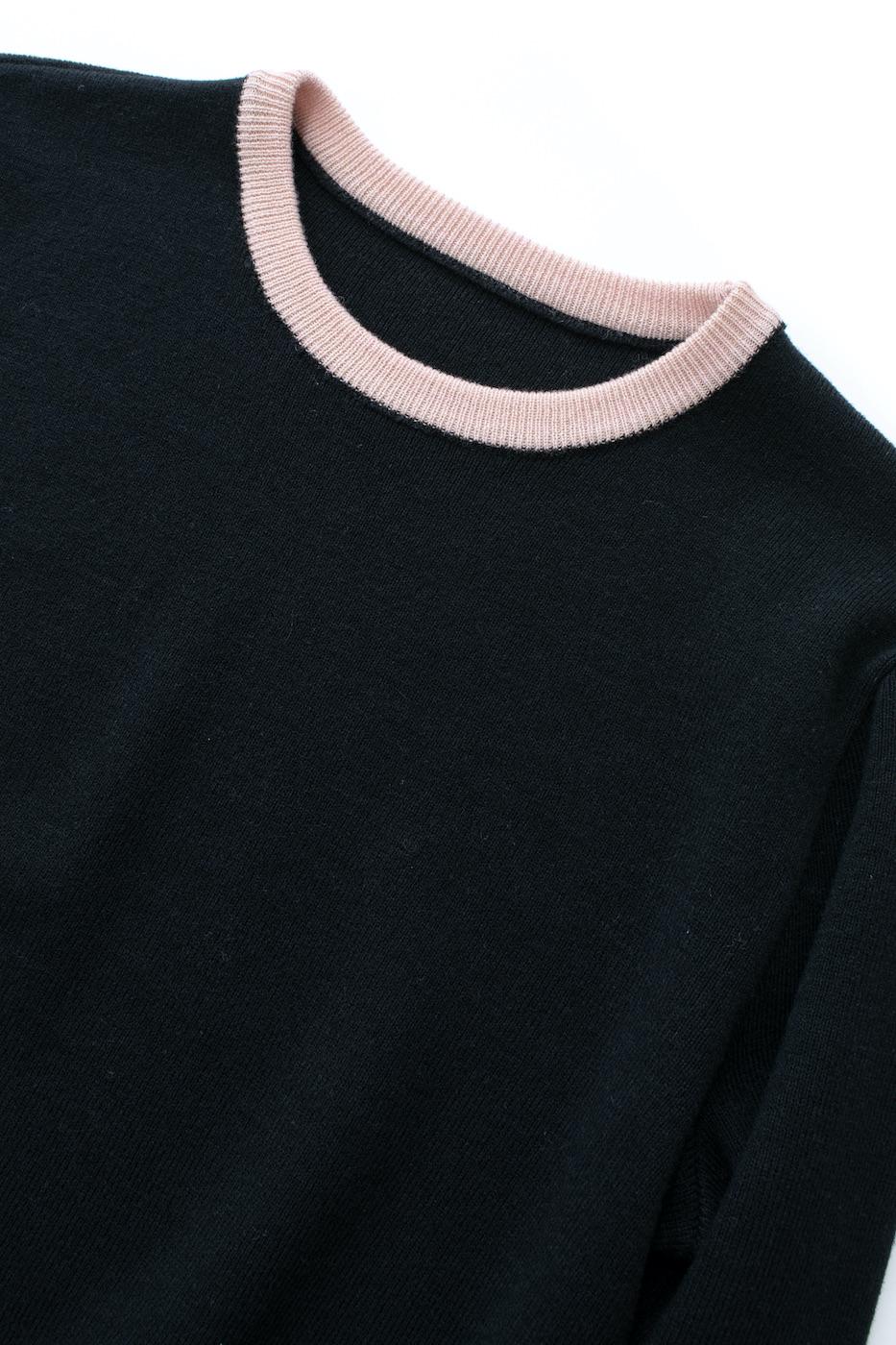 バイカラーニット/ピンク