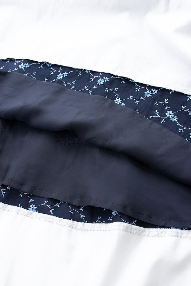 刺繍バイカラーワンピース/ネイビー【残りわずか】