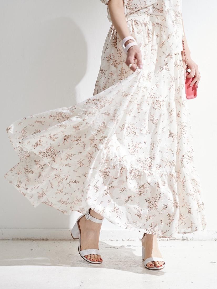 シフォンティアードスカート/ホワイト【残りわずか】