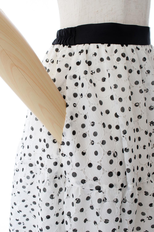 ドットレーススカート/ホワイト