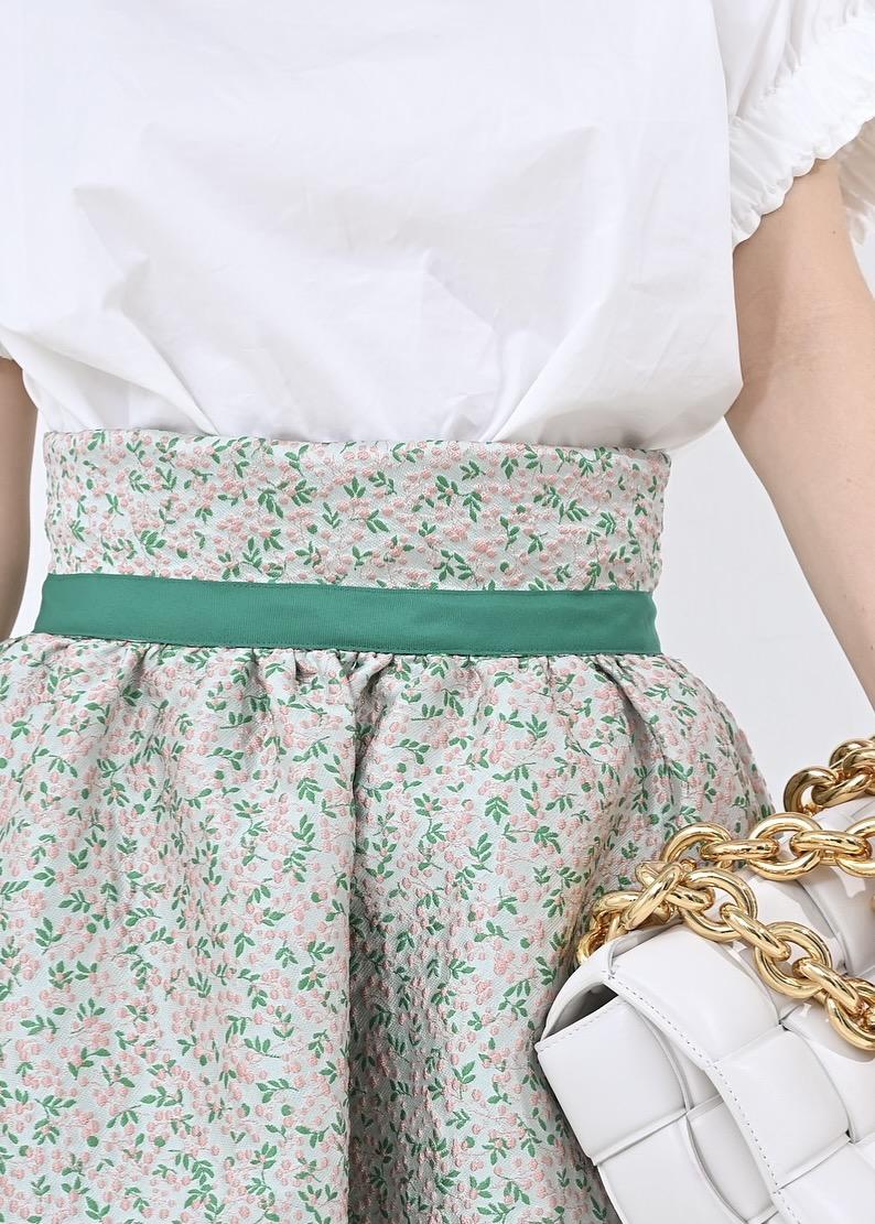 ハイウエストグリーンジャガードスカート