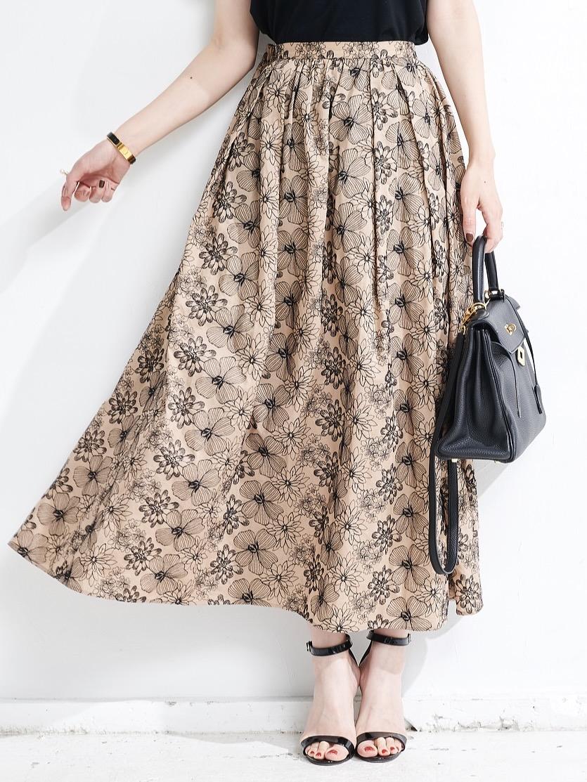 刺繍ベージュスカート【残り4点】