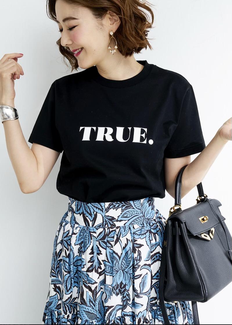 TRUE Tシャツ/ブラック×ホワイト