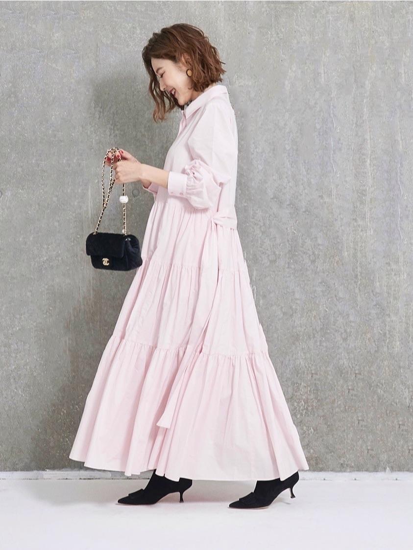 ティアードシャツワンピース/ピンク