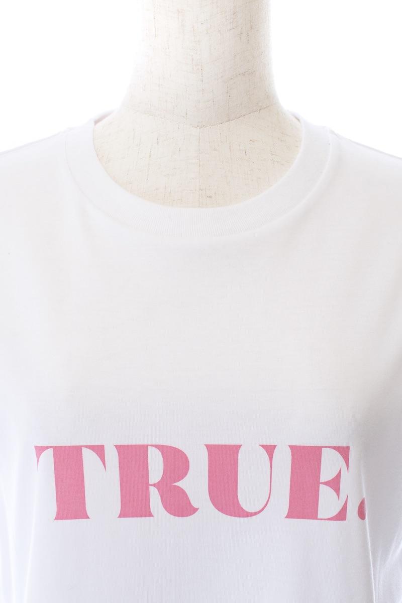 TRUE Tシャツ/ホワイト×ピンク