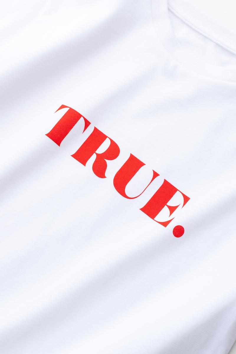 TRUE Tシャツ/ホワイト×レッド