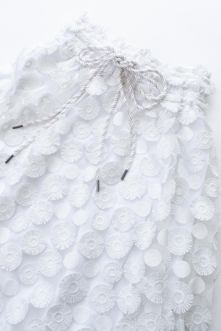立体総レースフラワースカート/ホワイト