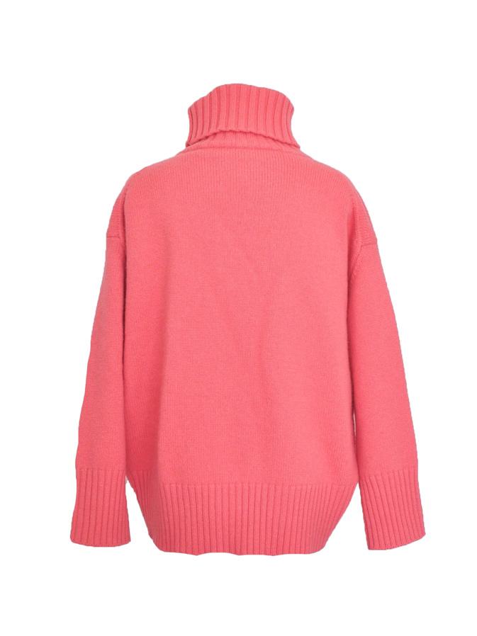 カラーハイネックニット/ピンク