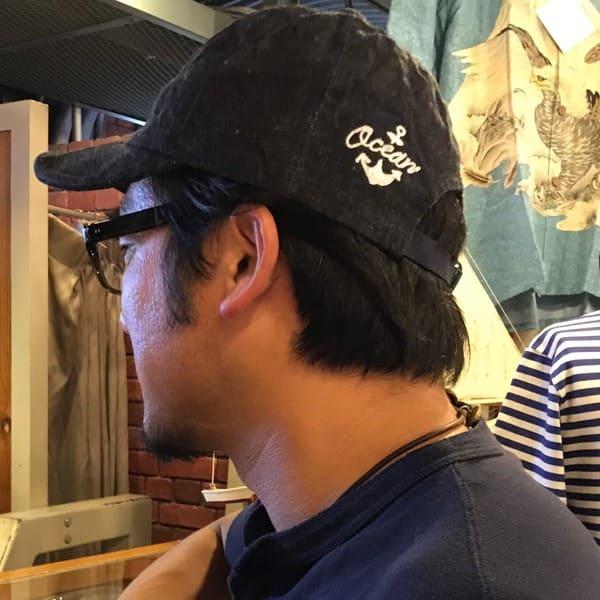 SAVE / OCEAN UNION別注 硫化染め コットン  チェーンステッチ ベースボールキャップ