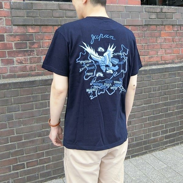 TAILOR TOYO  S/S SUKA T-SHIRT INDIGO EMBROIDERED