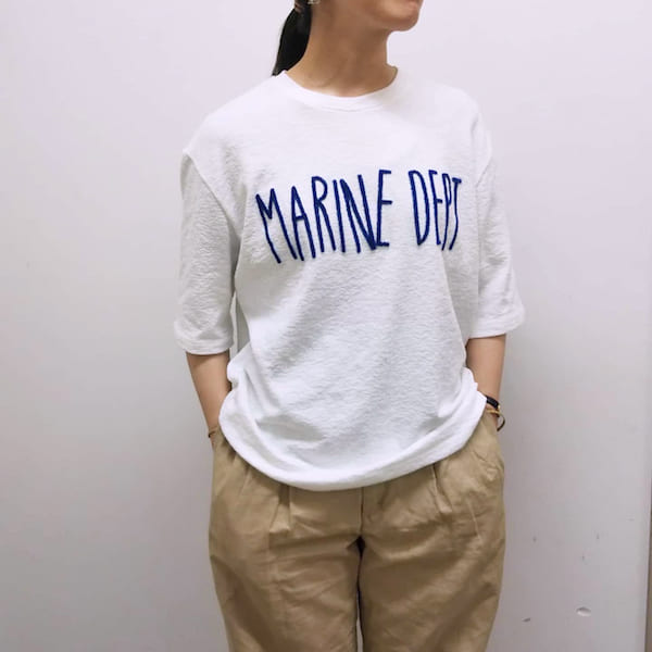 Lot No_H0209-3 / MARINE DEPT / パイル ワイドTシャツ / ちょっと厚手のパイル生地