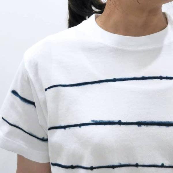 OCEAN UNION×LEVEL INDIGO / オリジナル 藍染T 手描きボーダー柄 Tee