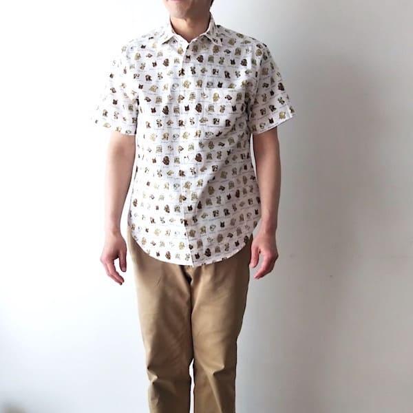 Lot No_TYH603 / CLOFT /メンズ シアサッカー(DOG柄)半袖シャツ
