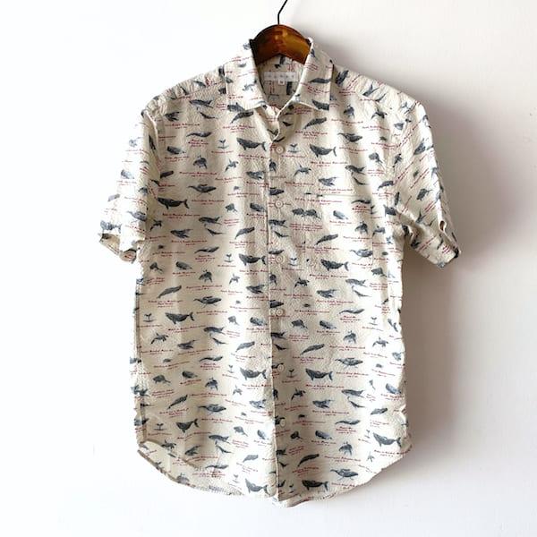 CLOFT /メンズ シアサッカー(クジラ柄)半袖シャツ