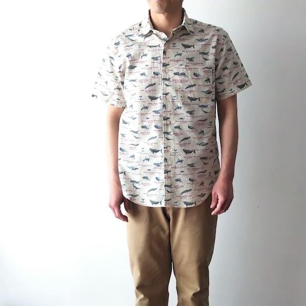 Lot No_TYH602 / CLOFT /メンズ シアサッカー(クジラ柄)半袖シャツ
