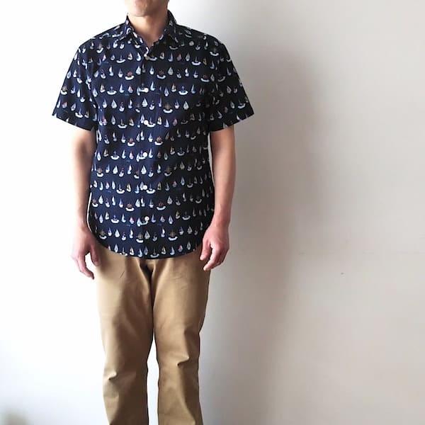 CLOFT / メンズ シアサッカー ヨット柄 半袖シャツ