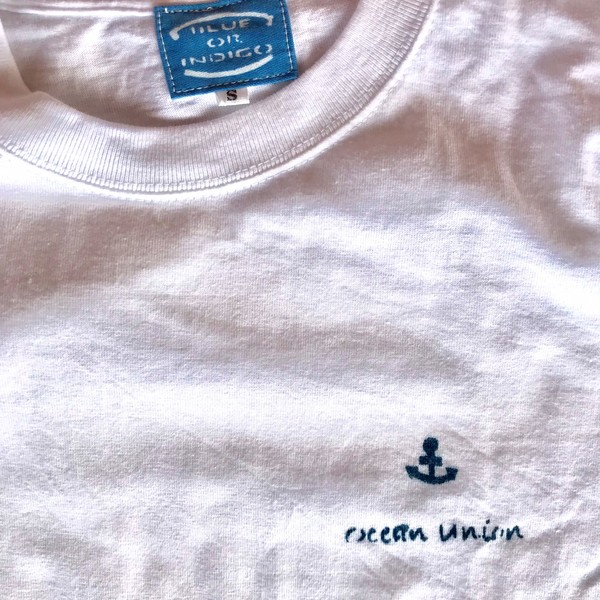 OCEAN UNION / 藍染め 無地(左胸にOCEAN UINIONロゴ)