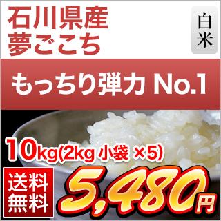 令和2年(2020年) 石川県産 夢ごこち 10kg(2kg×5袋) 白米【送料無料・即日出荷】【米袋は真空包装】