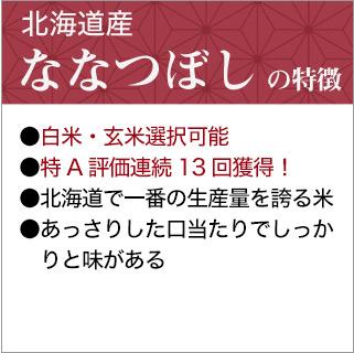 令和2年(2020年)  北海道産 ななつぼし<特A評価連続11回獲得!>24kg(2kg×12袋)【送料無料】【白米・玄米 選択】【米袋は真空包装】