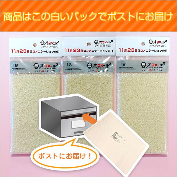「コメニケーションの日」お手持ちメッセージカードで贈る無地のオコメール 白米1合×3個セット(ゆうパケット便 送料無料)