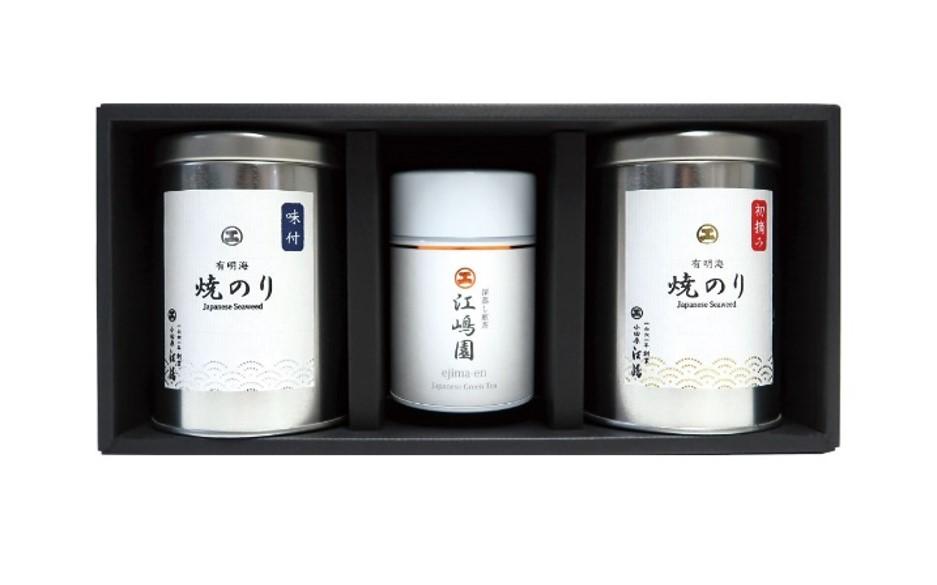 【茶・海苔ギフト】 C-380 深蒸し煎茶 1缶・有明海産 海苔(小) 2缶セット