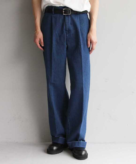 "【LIMITED SALE】order loose slacks denim ""indigo rigid"""