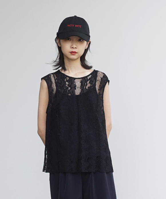 "「LIMITED SALE」 KAIKO SLEEVELESS TOP PYTHONLACE ""BLACK"""
