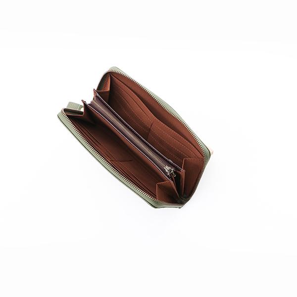 牛革 コインが分けられるラウンド長財布
