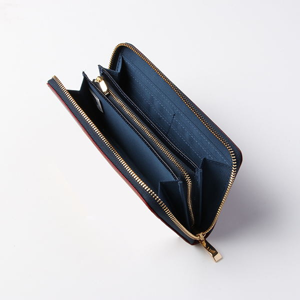 ピュアストーク イタリアンレザー コインが分けられるラウンド長財布