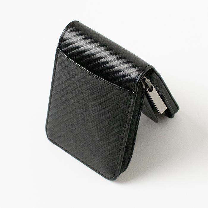 カーボン調ファスナーコンパクト財布