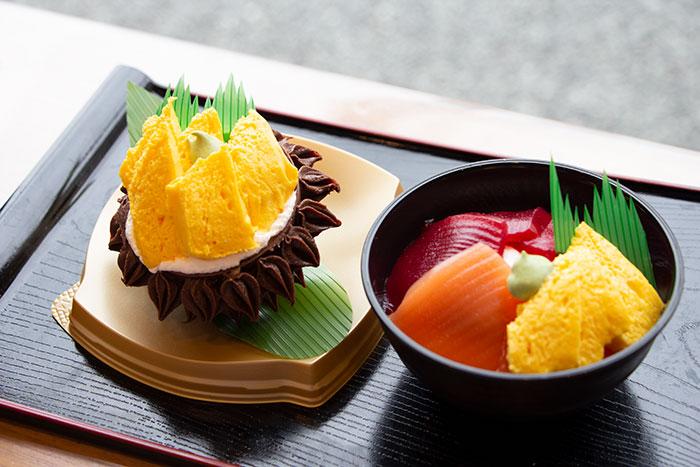 ミニスイーツキラキラ丼と殻付きウニ風スイーツ