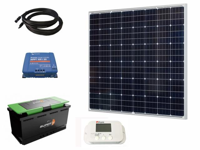 【車載向け_雑誌掲載品】ソーラー充電セット220W90Ah/太陽光パネル220W_リチウムバッテリー90Ah