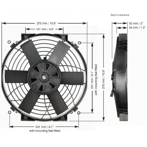 EWP 電動ファンスリム 10インチ単体 12V