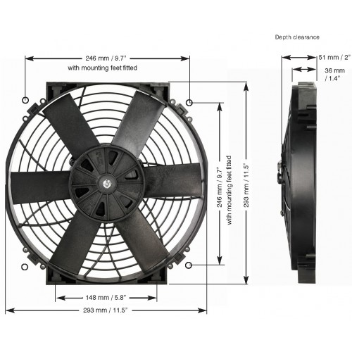 EWP 電動ファン 12インチ単体 12V