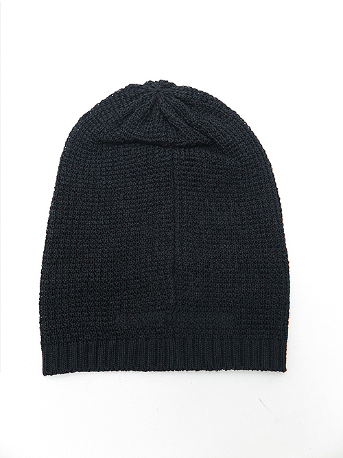 SALE40%OFF/JULIUS・ユリウス/IMITATION LINEN TAPE YARN STRIPE KNIT BEANIE/BLACK