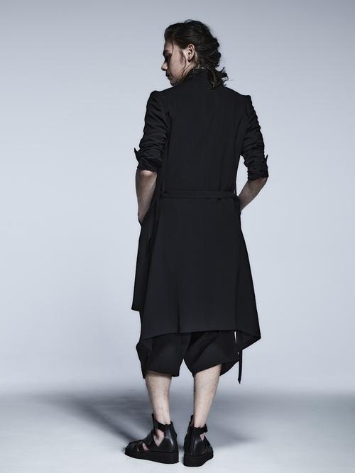 kiryuyrik・キリュウキリュウ/Vintage Twill No Collar Flare Jacket/Black