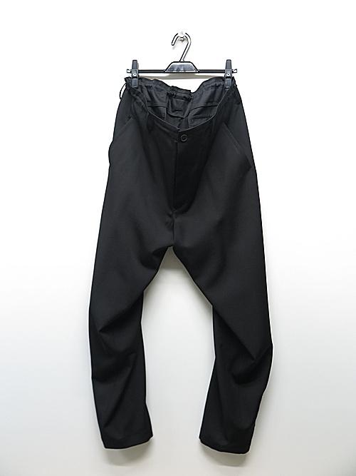 Yohji Yamamoto・ヨウジヤマモト/シワギャバM-裾いってこいパンツ/ブラック