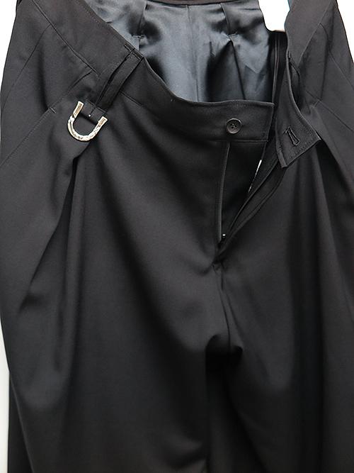 KiryuyriK・キリュウキリュウ/Gabadine Stretch Wide Tuck SlacksLONG/Black
