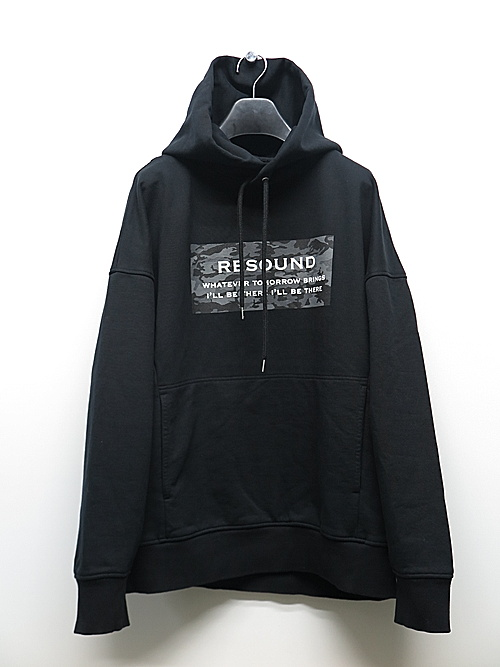 19TH RESOUND CLOTHING・リサウンドクロージング/camouflage BOX ROGO loose hoodie/BLACK