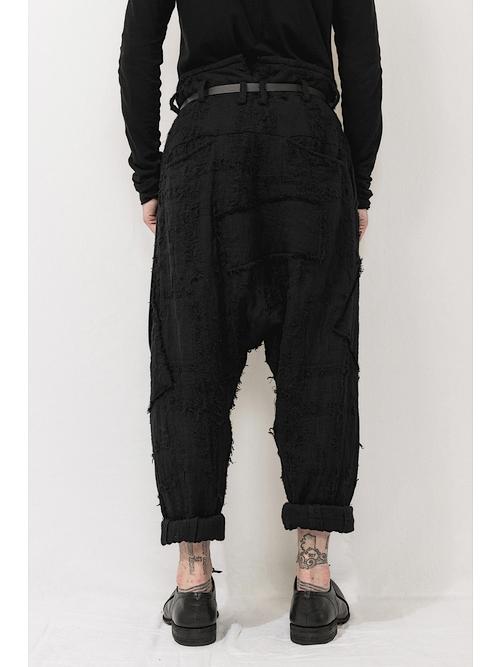 nude:masahiko maruyama ・ヌード:マサヒコマルヤマ/Patched Drop-Crotch 2 Tucks Pants/Black